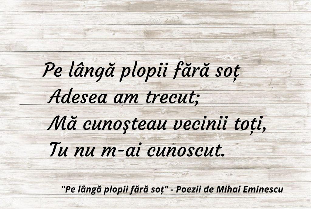 Pe lângă plopii fără soț - Poezii de Mihai Eminescu